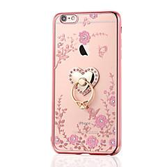 Na iPhone 8 iPhone 8 Plus Etui Pokrowce Stras Galwanizowane Uchwyt pierścieniowy Etui na tył Kılıf Kwiaty Miękkie Poliuretan
