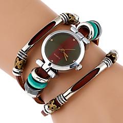 여성용 패션 시계 팔찌 시계 독특한 창조적 인 시계 손목 시계 중국어 석영 모조 다이아몬드 천연 가죽 밴드 빈티지 나비 보헤미안 멋진 캐쥬얼 브라운