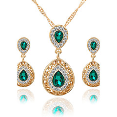 Kadın's Takı Seti Kolye / Küpe Gelin Takı Setleri Kristal Yapay Elmas Sallantılı Stil Euramerican lüks mücevher Gelin kostüm takısı Moda