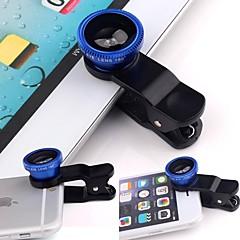 Akıllı telefon için geniş açılı balık göz makrosu, kamera lens kiti üzerinde evrensel 3 inç klip