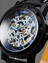 WINNER 남성 손목 시계 기계식 시계 중공 판화 메카니컬 메뉴얼-윈딩 가죽 밴드 럭셔리 블랙
