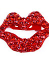 European and American casual British style retro red lips full of diamond brooch brooch X52