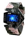 Masculino Relogio Militar Digital LED LCD Calendario Cronografo Impermeavel alarme Banda Cores Multiplas camuflagem verde