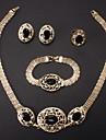 쥬얼리 세트 라인석 모조 다이아몬드 합금 패션 신부 보석 세트 결혼식 파티 특별한 때 생일 목걸이 귀걸이 링 팔찌 결혼 선물