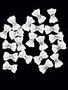 20PCS 3D White Resin Rhinestone Bowknot Nail Decorations