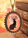 Vintage Rabbit Pattern Oval Shape Alloy Pendant Necklace (1 Pc)