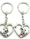 (2 PC) Beautiful Moda do coração do pêssego amantes coração de rato de alta Grade de aço inoxidável Keychain
