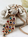 Women\'s Pendant Necklaces Peacock Crystal Rhinestone Alloy Elegant Colorful Jewelry For Party Daily Casual