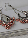 Fashion Pink Bead Silver Alloy Drop Earring(1 Pair)