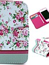 Pretty Flowers Pattern Wallet Style Flip Stand TPU+PU Leather Case for iPhone 4/4S