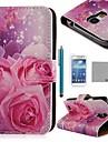 coco Fun® rose motif de soie pu étui en cuir avec protecter d'écran et un stylet pour les mini i9190 samsung galaxy