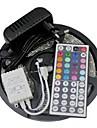 Kit de lampe a lamelles led 3528 5m 300leds rgb 60leds / m 44key ir controller et 3a alimentation ac100-240v