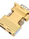 0.1m 0,328 pes feminino HDMI para VGA macho + cabo de conexao de audio hd feminino - ouro