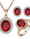 Set de Bijoux Simple Style bijoux de fantaisie Cristal Zircon Colliers decoratifs Boucles d\'oreille Anneaux Pour Mariage Soiree