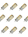 10pcs dimmable g4 1.5w 24x2835smd 100lm 3000k / 6000k blanc chaud / lumiere blanche led bulbe a mais (dc12v)