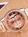 Женские Нарядные часы Имитационная Четырехугольник Часы Кварцевый сплав Группа Блестящие Золотистый