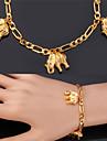 u7® Figaro цепи слоны прелести браслеты 18k реальное позолоченные Мода ювелирные изделия браслет для женщин мужчин