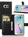 용 삼성 갤럭시 케이스 스탠드 / 윈도우 케이스 풀 바디 케이스 단색 인조 가죽 Samsung S7 edge / S7 / S6 edge plus / S6 edge / S6 / S5 / S4 / S3