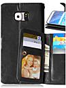 Pour Samsung Galaxy Coque Portefeuille Porte Carte Avec Support Clapet Coque Coque Integrale Coque Couleur Pleine Cuir PU pour SamsungS6