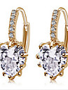 Women\'s Drop Earrings Love Fashion Costume Jewelry Zircon Cubic Zirconia Gold Plated Jewelry For