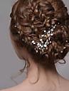 웨딩 파티 여성의 실버 진주 모조 다이아몬드 머리핀 머리 보석