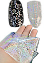 1pcs 100 * 4cm transparentes a laser unha transferencia arte brilho adesivos diy moedas geometricas imagem Flor da beleza do prego lt01-04