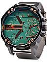 Мужской Армейские часы Календарь С двумя часовыми поясами Кварцевый Нержавеющая сталь Группа Cool Люкс Серебристый металл