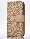 Corpo Completo carteira / Entrada de Cartao / com suporte Flor Couro Ecologico MacioRoses Embossing Cell Phone Case , Leather Wallet With