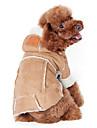 개 코트 후드 강아지 의류 겨울 솔리드 패션 따뜻함 유지 커피 와인 어두운 무늬