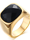 Men\'s Fashion Vintage Stainless Steel Engraved Personality Agate Jewelry Onyx Gold Plating Rings Casual/Daily/Party 1pc