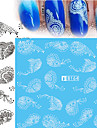 5pcs Black Lace Stickers +5pcs White Lace Stickers Adesivos para Manicure Artistica Decalques de transferencia de agua Lace adesivo