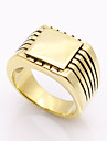 Men\'s Ring Geometric Double-layer Fashion Vintage Personalized Rock Euramerican Costume Jewelry Titanium Steel Square Cut Jewelry For