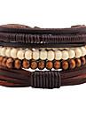 Homme Bracelets de rive Bracelets Mode Ajustable Personnalise Fait a la main Cuir Bois Forme Ronde Bijoux Pour Plein Air
