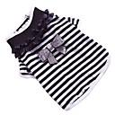 رخيصةأون أدوات الحمام-كلب T-skjorte ملابس الكلاب ببيونة أسود / أبيض قطن كوستيوم من أجل ربيع & الصيف