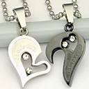 hesapli Yüzükler-Uçlu Kolyeler - Paslanmaz Çelik Kalp, Aşk Gümüş Kolyeler Mücevher Uyumluluk Günlük