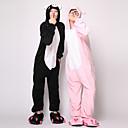 ieftine Machiaj Halloween-Adulți Pijama Kigurumi Purcel / Porc Animal Pijama Întreagă Flanel Lână Negru / Roz Cosplay Pentru Bărbați și femei Sleepwear Pentru Animale Desen animat Festival / Sărbătoare Costume
