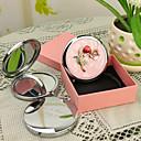 hesapli Kişiselleştirilmiş Yenilikçi Ürünler-Kişiye Hediye Çiçeği Style Pembe Krom Kompakt Ayna