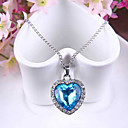 cheap Brooches-Women's Synthetic Sapphire Pendant Necklace - Austria Crystal Heart, Love Ladies, Fashion Blue Necklace Jewelry For Wedding, Party, Special Occasion, Anniversary, Gift, Daily