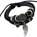 preiswerte Halsketten-Herrn Perlenbesetzt Bettelarmbänder / Wickelarmbänder - Leder Engelsflügel Einzigartiges Design, Modisch Armbänder Schwarz Für Weihnachts Geschenke / Alltag