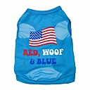 cheap Dog Clothing & Accessories-Cat Dog Shirt / T-Shirt Dog Clothes Letter & Number Blue Terylene Costume For Spring &  Fall