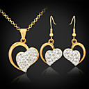 ieftine Colier la Modă-Pentru femei Cristal Seturi de bijuterii Cercei Picătură Coliere cu Pandativ Inimă Iubire femei Design Unic Elegant Cristal Ștras Placat Auriu cercei Bijuterii Auriu Pentru Nuntă Petrecere Zi de