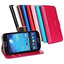 hesapli Galaxy S Serisi Kılıfları / Kapakları-Pouzdro Uyumluluk Samsung Galaxy Samsung Galaxy Kılıf Kart Tutucu Satandlı Flip Tam Kaplama Kılıf Tek Renk PU Deri için S4 Mini