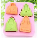 hesapli Fırın Araçları ve Gereçleri-dört delik çanta şeklindeki fondan kek çikolata silikon kalıp kek dekorasyon araçları, l8.5cm * w7.5cm * h1.6cm