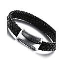 preiswerte Ringe-Herrn Lederarmbänder Magnetisches Armband - Edelstahl, Leder Punk Armbänder Schwarz Für Normal
