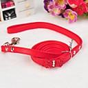 preiswerte Hundehalsbänder, Geschirre & Leinen-einstellbare PU-Leder Rhinestonebowknot verziert Halsband mit Leine für Hunde (farblich sortiert)