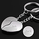 cheap Key Chains-Personalized Engraved Gift a Pair Heart Shaped Lover Keychain