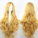preiswerte Anime Cosplay-Synthetische Perücken Locken Gold Wig Asymmetrischer Haarschnitt Synthetische Haare Natürlicher Haaransatz Gold Perücke Damen Lang Kappenlos
