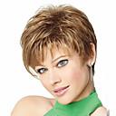 hesapli Bilezikler-Sentetik Peruklar Düz / Bukle Sarışın Asimetrik Saç Kesimi Sentetik Saç 4 inç Doğal saç çizgisi Sarışın Peruk Kadın's Şort Bonesiz Açık Kahverengi