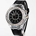 hesapli Kadın Saatleri-Geneva Kadın's Gündelik Saatler Moda Saat Japonca Quartz 30 m Parlak Silikon Bant Analog İhtişam Siyah / Beyaz - Beyaz Siyah İki yıl Pil Ömrü