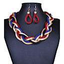cheap Necklaces-Women's Stardust Twisted Drop Earrings Statement Necklace Statement Ladies Vintage Purple Red Blue 42 cm Necklace Jewelry 1pc For Party Special Occasion Congratulations